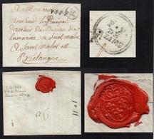 """PETITE POSTE DE REIMS/ 1781 OB. CERCLE DOUBLE """"P.P. / DE / REIMS"""" SUR LAC POUR SAINT MALO - BELLE FRAPPE (ref 3379) - Postmark Collection (Covers)"""