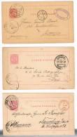 Portugal, 1884/7, 3 Inteiros Postais 20 Reis, OM 10, Funchal Para Alemanha E França - Cartas