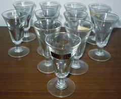 UNDICI (11) BICCHIERI VETRO TEMPERATO VINTAGE - Bicchieri