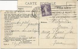 CARTE POSTALE LA SAMARITAINE 1927 AVEC TIMBRE DE ROULETTE A 40 CT AU TYPE SEMEUSE - Roulettes