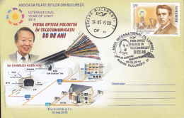 72185- SIR CHARLES KUEN KAO, PHYSICS, INTERNATIONAL YEAR OF LIGHT, SPECIAL COVER, 2015, ROMANIA - Physique