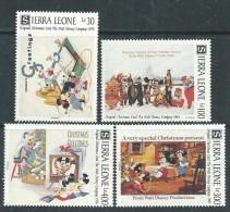 Sierra Leone N° 1406 / 09 XX Cartes De Noël De La Compagnie  Walt Disney ( II ) ,  Les 4 Valeurs Sans Charnière., TB - Sierra Leone (1961-...)