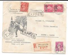 LETTRE ILLUSTREE ..RECOMMANDEE EXPRESS..1927.  TIMBRE A ETE DECOLLE EN HAUT A GAUCHE.POUR MONTE CARLO. - Marcophilie (Lettres)