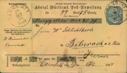 1894, 20 Pfg. Postanweisung Von CANNSTADT Nach BIBERACH/RISS - Kabinetterhaltung - Wuerttemberg