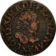 Monnaie, France, Louis XIII, Double Tournois, 1615, Amiens, TB, Cuivre - 1610-1643 Louis XIII Le Juste