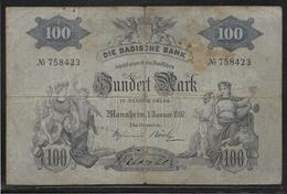 Bade - 100 Mark - 1-1-1907 - Pick N° S906 - TB - [ 1] …-1871 : Etats Allemands