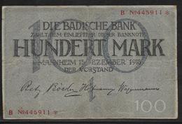 Bade - 100 Mark - 15-12-1918 - Pick N° S907 - TB - [ 1] …-1871 : Etats Allemands