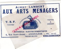 16- ANGOULEME -BUVARD ALBERT LAMBERT AUX ARTS MENAGERS- TSF RADIO- 6 RUE SAINT ANDRE - IMPRIMERIE TOUCY LE RAINCY - Electricité & Gaz