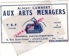 16- ANGOULEME -BUVARD ALBERT LAMBERT AUX ARTS MENAGERS- TSF RADIO- 6 RUE SAINT ANDRE - IMPRIMERIE TOUCY LE RAINCY - Electricidad & Gas