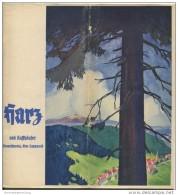Harz Und Kyffhäuser Braunschweig Elm-Lappwald 1938 - 28 Seiten Mit 38 Abbildungen - Illustration Fritz Röhrs - Beiliegen - Reiseprospekte