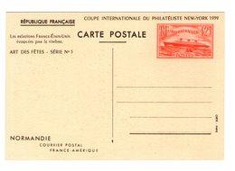 Entier Postal France 299 CP1 1939 Paquebot Normandie Avec Repiquage Coupe Philatéliste New York Cote 22,50€ - Entiers Postaux