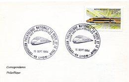 FERROVIAIRE = 69 LYON 1984 = CACHET Illustré CONCORDANT N° 2334 TGV ' La Poste Et Le Train ' - Marcophilie (Lettres)