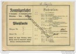 Platzkarte - Rompilgerfahrt 9. - 19. November 1925 Mit Fahrplan Ab Würzburg - Transporttickets