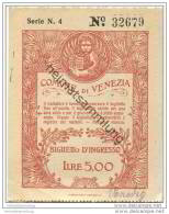 Biglietto D' Ingresso Comune Di Venezia 1925 - Lire 5,00 - Eintrittskarten