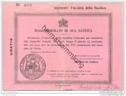 Maggiordomato Di Sua Santita - Basilica Vaticana - Eintrittskarte 1925 - Eintrittskarten
