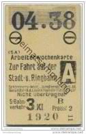 Berlin S-Bahn - Arbeiterwochenkarte 04. 1938 - Stadt- Und Ringbahn - 3. Klasse - Bahn