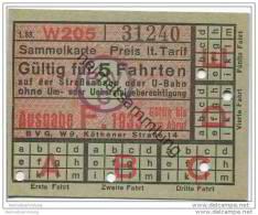 Berlin - BVG - Sammelkarte 1933 - Gültig Für 5 Fahrten Auf Der Strassenbahn Oder U-Bahn - Fahrkarte - Wochen- U. Monatsausweise