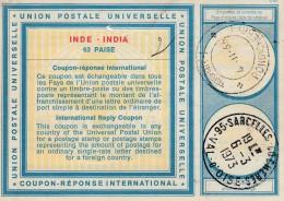 _ Inde Coupon Réponse International .. International Reply Coupon .. 63 Paise .. 1966  Pondichéry 1973 Sarcelles - Non Classés
