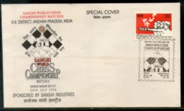 India 1994 Sanghi World Chess Championship Matches Games Special Cover # 16644 - Chess