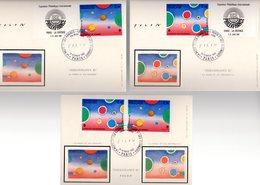 """"""" PHILEXFRANCE 82 """" Sur 3  Cartes Maximum En Soie De 1982. N° YT 2199 2200 P2200A. Un Peu écornées N.E. CM - Cartes-Maximum"""