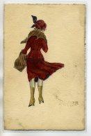 ILLUSTRATEUR Tres Beau Dessin ORIGINAL Jeune FEmme Bottines Jupe Soulevée Vent Encre Et Aquarelle 1910      /D07-2017 - Otros Ilustradores