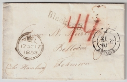 1853, London Nach Fehmarn, Altona-Stp.   ,  #a922 - Schleswig-Holstein