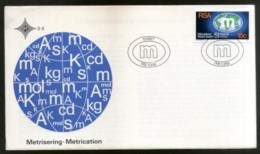 South Africa 1977 Metrication Introduction Of Metric System Map FDC # 16507 - Geography