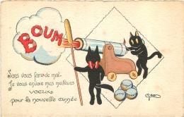 ILLUSTRATEUR SIGNE CHATS NOIRS BOUM MEILLEURS VOEUX DE BONNE ANNEE VOYAGEE EN 1930 - Illustrators & Photographers