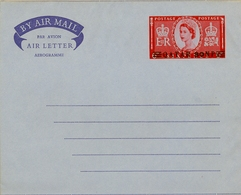 1959 , QATAR , AEROGRAMA Nº 2 SIN CIRCULAR , ISABEL II SOBRECARGADO 30 NP SOBRE 6 P - Qatar