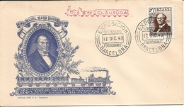 1948- EXPO. CENTENARIO FERROCARRILES BARCELONA - MATARÓ. MIGUEL VIADA BUNYOL ED. 1037  EN SOBRE NO CIRCULADO 12DIC48 DIA - 1931-50 Briefe U. Dokumente