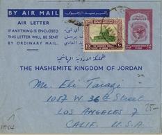 1954 , JORDANIA , AEROGRAMA CIRCULADO , AMMAN - LOS ÁNGELES, FRANQUEO COMPLEMENTARIO - Jordania
