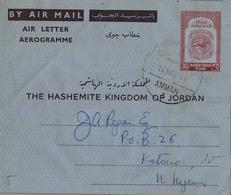 1962 , JORDANIA , AEROGRAMA CIRCULADO DESDE AMMAN , 35 FILS. - Jordania