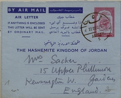 1954 , JORDANIA , AEROGRAMA CIRCULADO , AMMAN - KENSINGTON, 25 FILS. - Jordania