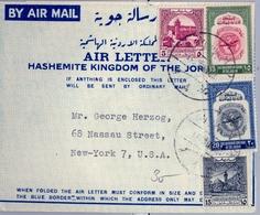 1952 JORDANIA , AEROGRAMA CIRCULADO , AMMAN - NUEVA YORK , INTERESANTE FRANQUEO - Jordania