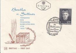 72827- BERTHA VON SUTTNER, NOBEL PEACE PRIZE LAUREAT, COVER FDC, 1965, AUSTRIA - Premio Nobel