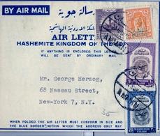 1951 JORDANIA , AEROGRAMA CIRCULADO , AMMAN - NUEVA YORK , INTERESANTE FRANQUEO - Jordania