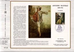 1973 DOCUMENT FDC PEINTURE LA FINETTE DE WATTEAU - Documents De La Poste