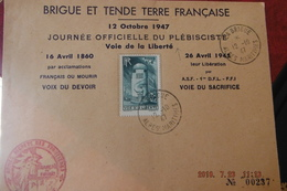Enveloppe Entete Brigue Et Tende Journee Officielle Du Plebisciste 1947 La Brigue Cachet Armee Secrete Des Frontieres N2 - Cachets Commémoratifs