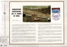1973 DOCUMENT FDC 50 ANS 24 HEURES DU MANS - Documenten Van De Post