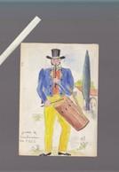 Costumes - 4 Dessins Originaux D'assez Bonne Facture :Marseille, Arles Arlesienne, Digne Danseur Farandole, Tambourin - Vieux Papiers