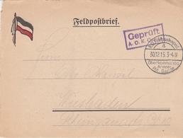 Feldpostbrief Obl K.D. Feldpostexpéd / A / Oberkommando / Armee / Abt GAEDE Du 30.12.15 + Cachet Geprüft / A.O.K. Gaede - Guerre De 1914-18