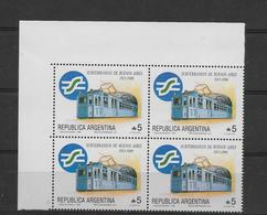 ARGENTINA 1988, SUBWAY OF BUENOS AIRES, TRAINS. SCOTT 1636 MICHEL 1953 BLOCK OF FOUR MINT NH - Argentine