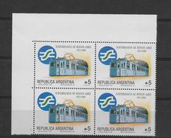 ARGENTINA 1988, SUBWAY OF BUENOS AIRES, TRAINS. SCOTT 1636 MICHEL 1953 BLOCK OF FOUR MINT NH - Argentina