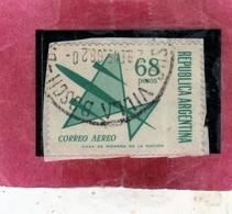ARGENTINA 1967 AIR MAIL POSTA AEREA CORREO AEREO SYMBOLIC PLANE PESOS 68p USATO USED OBLITERE' - Posta Aerea