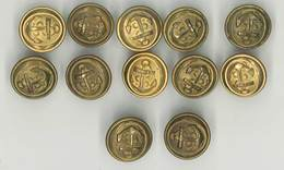 Lot 12 Boutons Militaires, Ancre De Marine, 21 Mms - Boutons