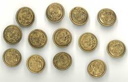 Lot 13 Boutons Militaires, Ancre De Marine, 19 Mms - Boutons
