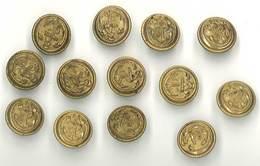 Lot 13 Boutons Militaires, Ancre De Marine, 19 Mms - Buttons