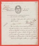 1801 Consulat L.A.S. Commission Hospices Civils à Paris Plainte Moulins Spoliés à Corbeil Vignette An 9 - Documents Historiques
