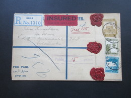 Palästina / Palestine 1934 R-Brief Insured!! Mit 3 Siegel Und Vielen Stempeln! Judaika. Haifa In Die CSR. Toller Beleg!! - Palästina