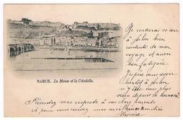 CPA Dos Non Divisé : NAMUR La Meuse Et La Citadelle , Bassin De Natation, Bains De Jambes - Namur